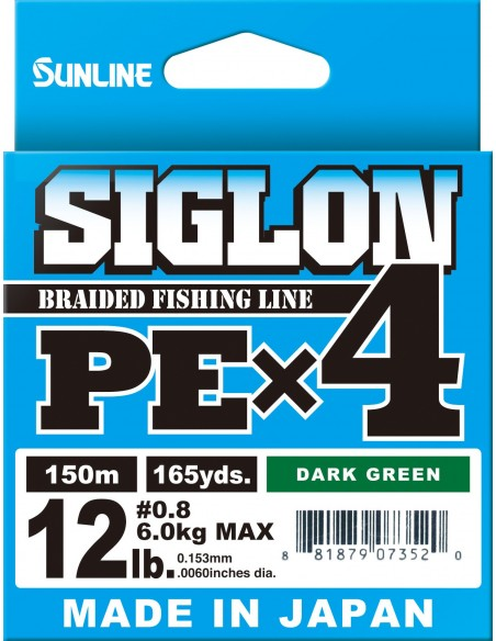 Sunline Siglon PE X4 150mt light green 6lb